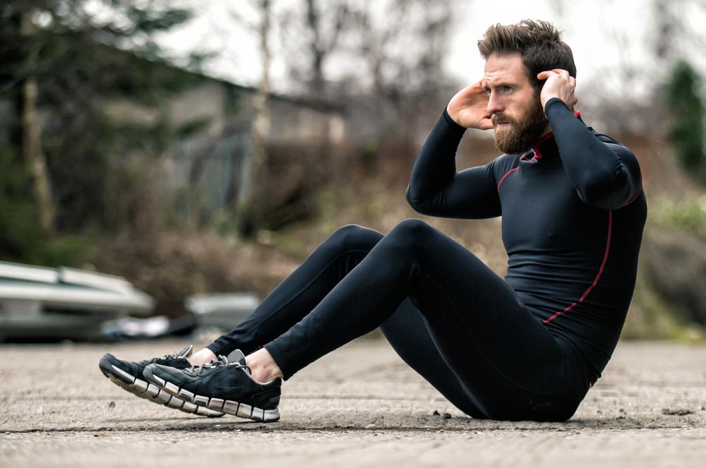 Exercícios ao ar livre: abdominal
