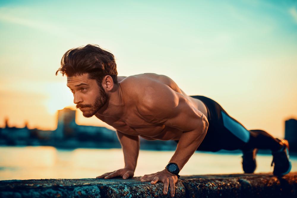 Exercícios ao ar livre: flexão